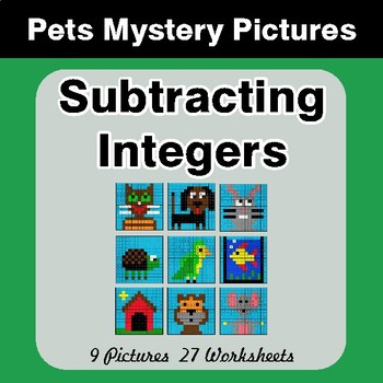 Subtracting Integers - Color-By-Number Mystery Pictures - Pets Theme