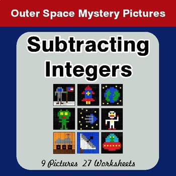 Subtracting Integers - Color-By-Number Mystery Pictures - Space theme