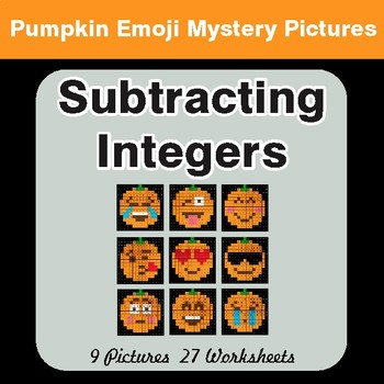 Subtracting Integers - Color-By-Number PUMPKIN EMOJI Mystery Pictures