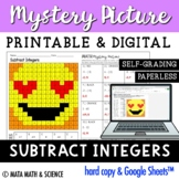 Subtracting Integers: Solve + Color Mystery Picture (Emoji)