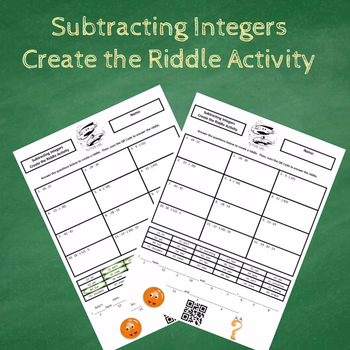Subtracting Integers Create the Riddle Activity