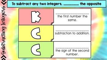 Subtracting Integers Digital Interactive Math Notebook