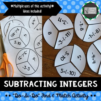 """Subtracting Integers """"Do-Si-Do"""" Find & Match Activity 7.NS.A.2"""