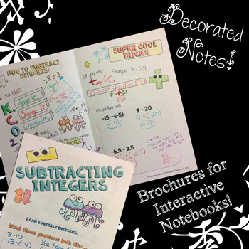 Subtracting Integers - Doodle Note Brochure for Interactive Notebooks