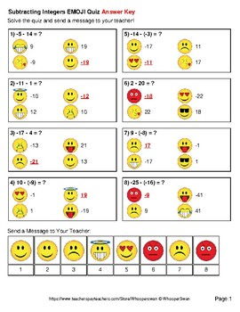 Subtracting Integers Emoji Quiz
