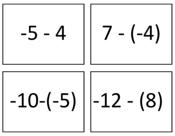 Subtracting Integers Flash/Task Cards (28 Cards)