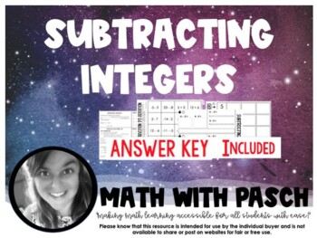 Subtracting Integers Foldable and Activity