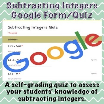 Subtracting Integers Google Form/Quiz