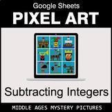 Subtracting Integers - Google Sheets Pixel Art - Middle Ages