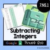 Subtracting Integers | Google Sheets Pixel Art - Self Grading!