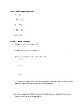 Subtracting Integers (Guided Notes)