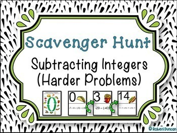 Subtracting Integers - Scavenger Hunt (Harder Problems)