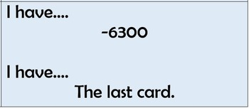 Subtracting Integers - I Have ... Who Has Game - 36 cards