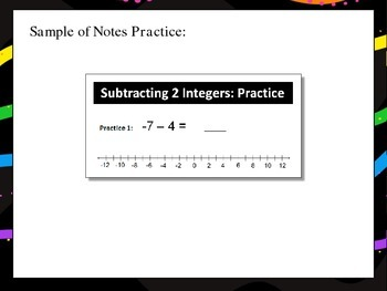 Subtracting Integers Interactive Notes and Practice