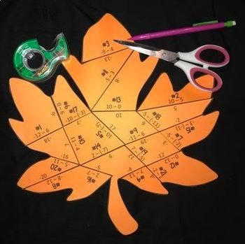 Subtracting Integers (Leaf- Shaped Puzzle)