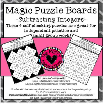 Subtracting Integers Magic Puzzle Board Games