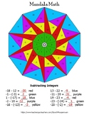 Subtracting Integers Mandala Math Color by Number