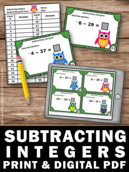 Subtracting Integers Task Cards, 7th Grade Math Review, Integer Games SCOOT