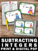 Subtracting Integers Task Cards, 7th Grade Math Review Game SCOOT