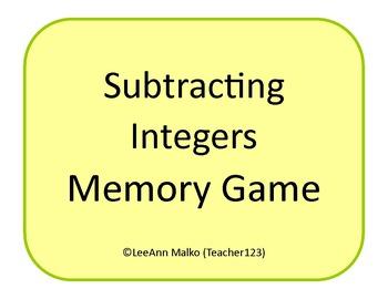 Subtracting Integers Memory Game