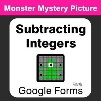 Subtracting Integers - Monster Mystery Picture - Google Forms