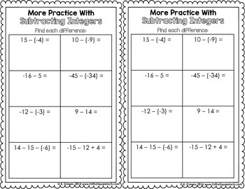 Subtracting Integers Interactive Notebook