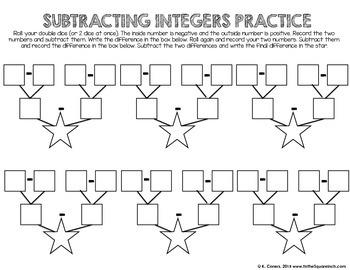 Subtracting Integers Interactive Notebook