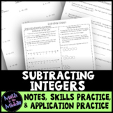 Subtracting Integers - Notes, Practice, and Application Pack