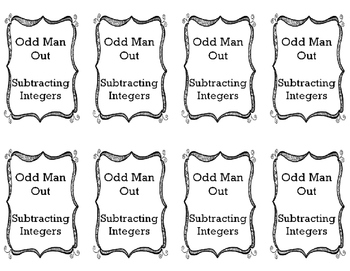 Subtracting Integers - Odd Man Out