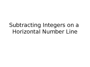 Subtracting Integers On A Horizontal Number Line