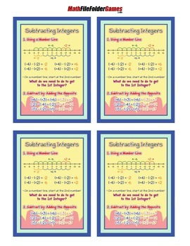 Subtracting Integers Poster/Anchor Chart with Cards for Students Math Journals