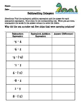 Subtracting Integers Practice - Scrambled Puzzle - CCSS 7.NS.A.1.c