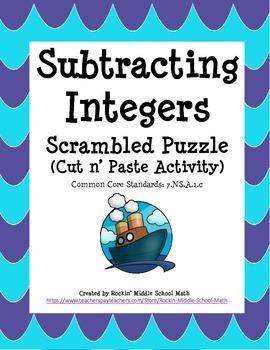 Subtracting Integers Practice - Scrambled Puzzle - CCSS 7.