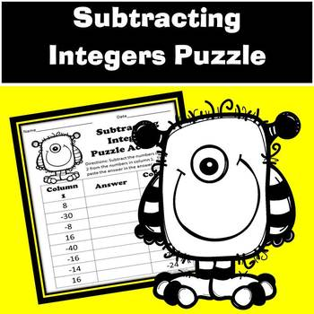 Subtracting Integers Puzzle