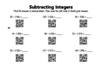 Subtracting Integers QR Codes