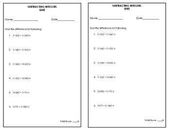 Subtracting Integers Quiz