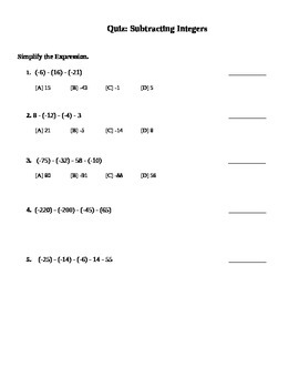 Subtracting Integers Quiz (7.NS.1;7.NS.1.a; Mathematical Practices 1, 2, 3, 4)