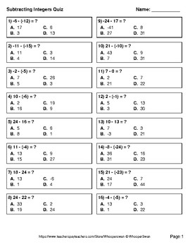 Subtracting Integers Quiz - Test - Assessment - Worksheets