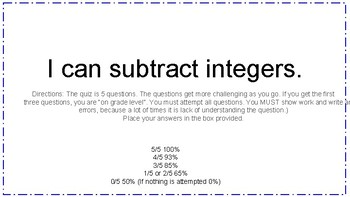Subtracting Integers Quiz/Ticket Out the Door 7.NS.A1