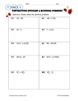 Subtracting Integers & Rational Numbers Worksheet