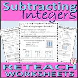 Subtracting Integers Reteach Worksheets