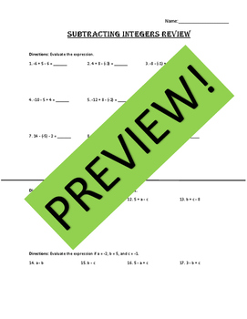 Subtracting Integers Review (Editable)