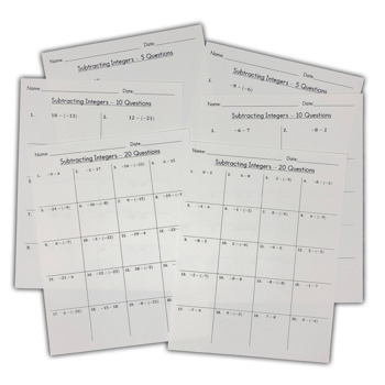 Subtracting Integers - Self Grading Worksheets or Quizzes for Google Forms