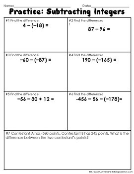 Subtracting Integers Notes