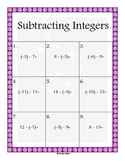 Subtracting Integers - Single and Double Digits