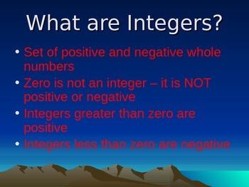 Subtracting Integers Slide Show