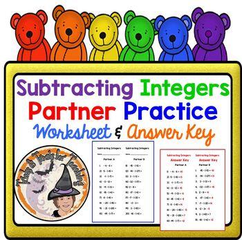 Subtracting Integers Subtraction Partner Practice Worksheet w/KEY Subtract
