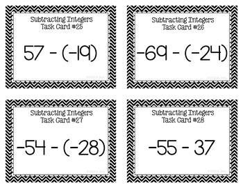 Integer Task Cards Subtraction