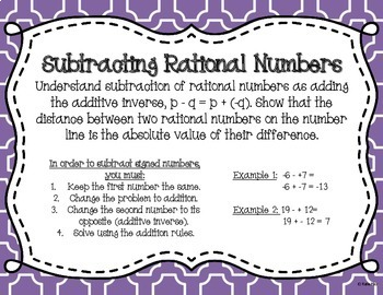 Subtracting Integers Task Cards and Poster Set (Supports 7.NS.1)