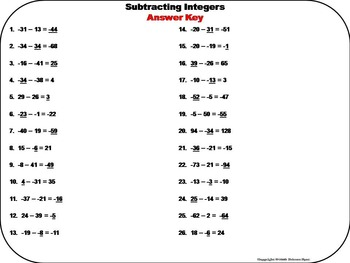 Subtracting Integers Task Cards 5th 6th 7th 8th Grade